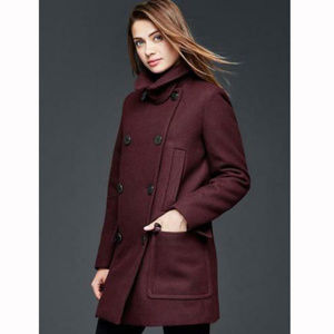 Gap Burgandy Wool Double Breasted Pea Coat